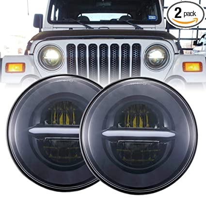 Hummer Headlight Wiring Diagram, Amazon Com Bicyaco Dot 7 Round Black Led Headlight High Low Beam With White Halo Drl For Jeep Wrangler Jk Tj Lj Cj Hummer H1 H2 Pair Automotive, Hummer Headlight Wiring Diagram