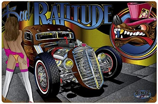 Amazon.com: BinLtd Rat Rod Ratitude - Cartel decorativo de ...