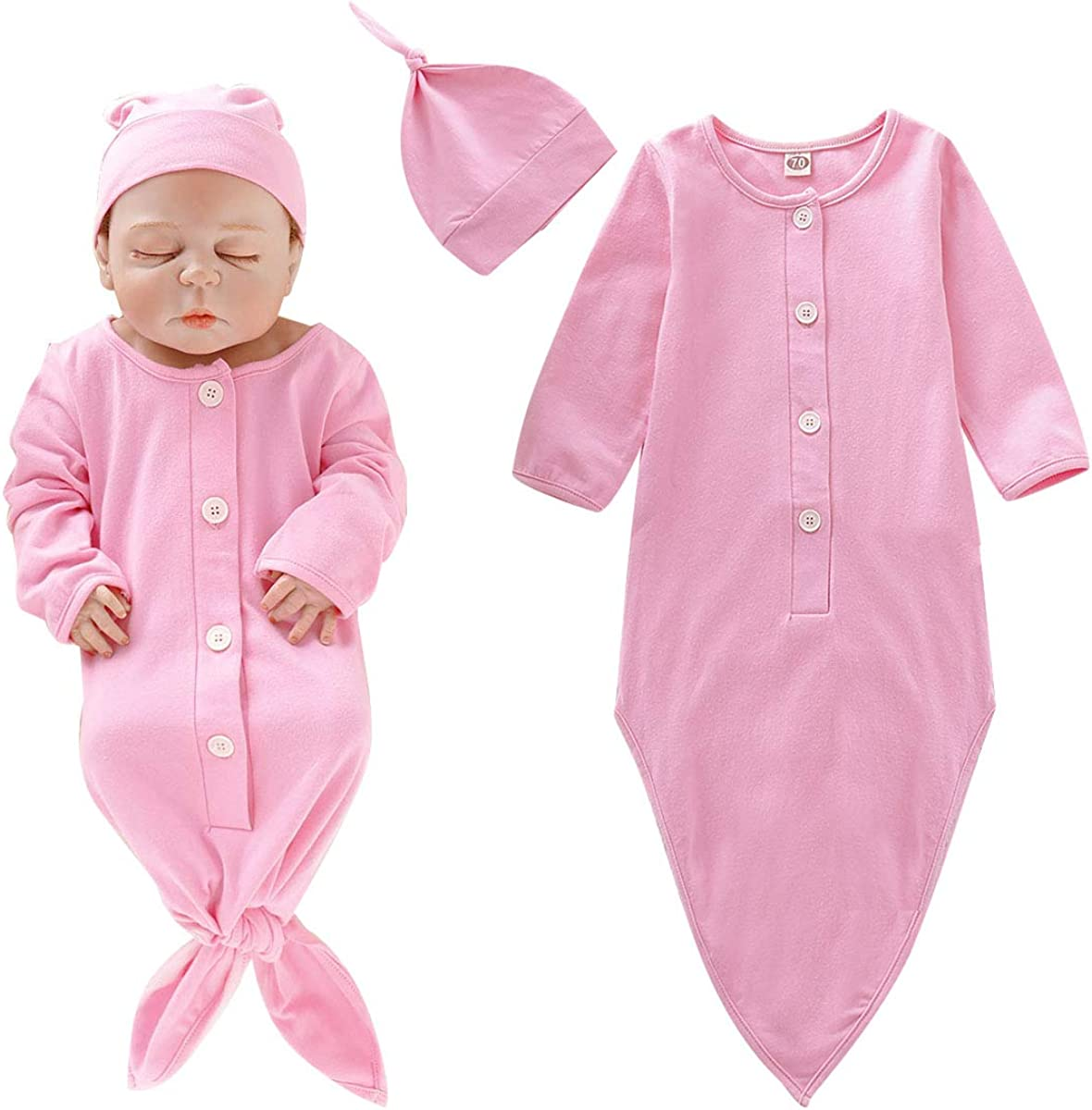 Baby Gown Newborn Cotton Nightgown Long Sleeve Stripe Baby Sleeping Bags Baby Boy Girl Coming Home Outfits Set