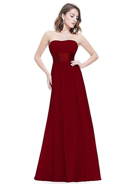 e732baf085c7 Ever-Pretty Abito da Sera Donna Lungo Senza Spalline Impero Damigella  d Onore Borgogna