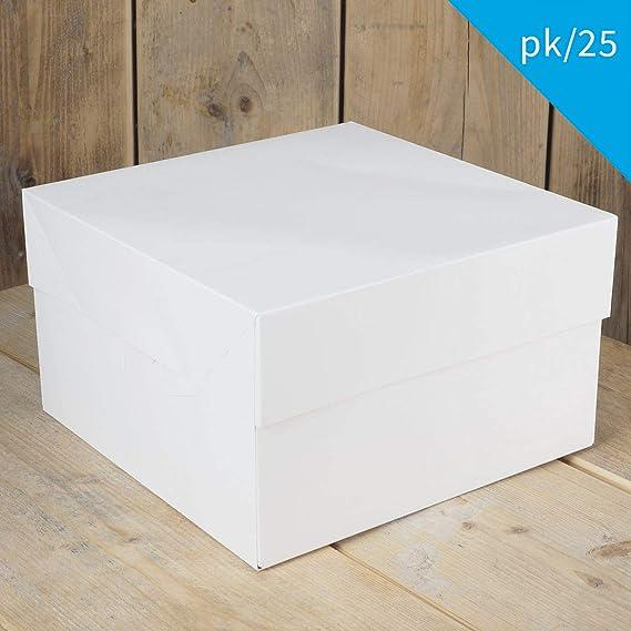 FunCakes - 25 x Caja Blanca para Transportar Tartas (33X33X15CM ...