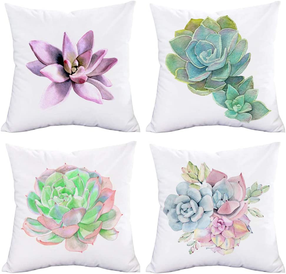 Asamour Succulent Plant Pillow Covers Set of 4 for Home Decor Super Soft Summer Tropical Watercolor Sedum Adolphii Throw Pillows Green Plant Potting Cushion Cases 18x18 Inch for Patio Sofa Bedding