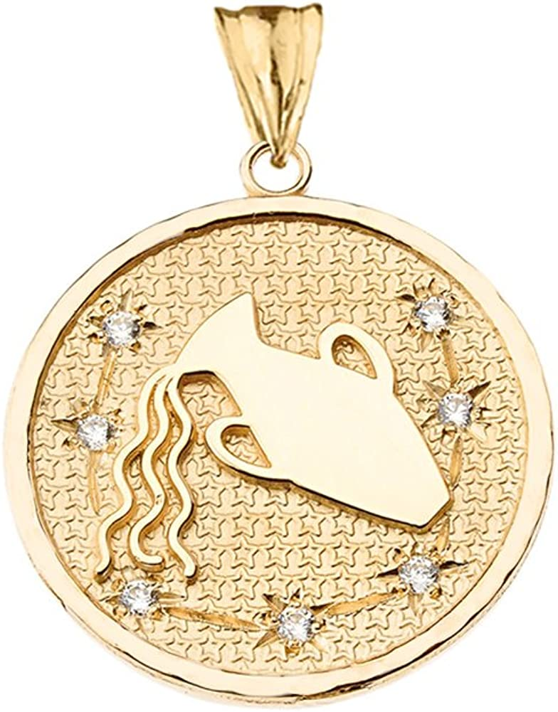 10K Yellow Gold Medal Made in Italy Aquarius Charm Pendant