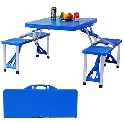 b1eac322b76 Image Unavailable. Image not available for. Color  Blue Kids Outdoor  Portable Plastic Folding Picnic Table ...