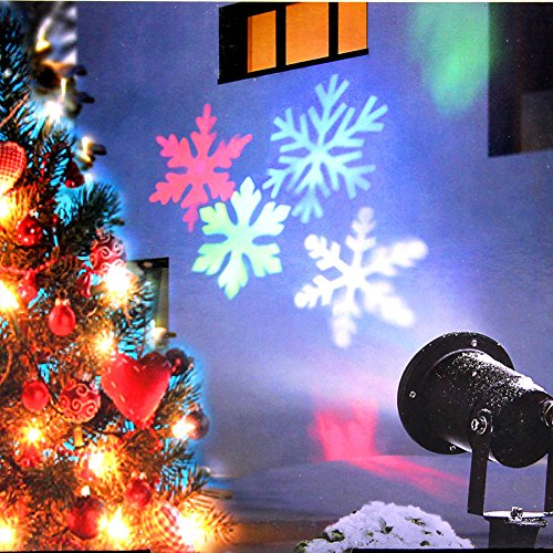 Christmas Lights, Colorful Moving Snowflake Light Projector Holiday Outdoor Decorations Waterproof for Landscape Garden Halloween Thanksgiving Christmas Party by KOOT