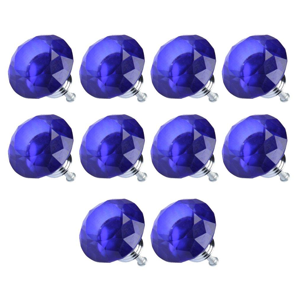 TOOGOO(R) Forma 10pcs diamante del vidrio cristalino del cajon del gabinete Perilla tirador (azul) New