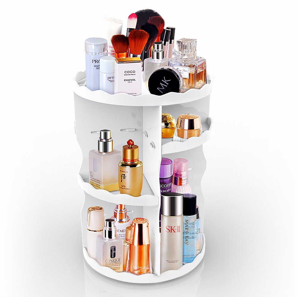 Makeup Organizer Cosmetic Storage,360-Degree Spinning Rotating Large Capacity Desktop Storage Shelf (Round, White)