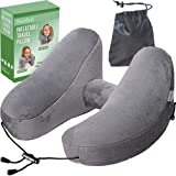NaoBest Luxury Inflatable Travel Pillow Airplanes - Air Pillow w/Adjustable Neck Size - Supports Chin Head - Soft Washable Cover - Cell Phone Pocket - Grey - Launch Offer