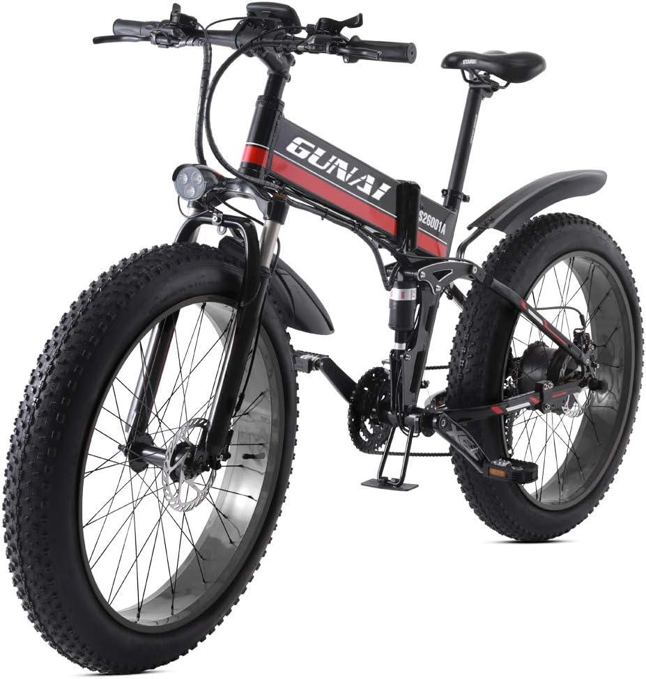 GUNAI Bicicleta eléctrica de 26 Pulgadas Fat Tire 1000W 48V Ebike ...