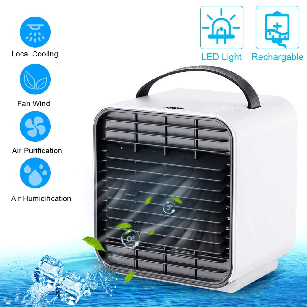 JYSW Air Conditioner Fan, Personal Portable Mini Air Cooler Fan USB Circulator Purifier Humidifier Personal Air Space Cooler Fan with 3 Speeds and Night Light, for Home Room Office Outdoors by JYSW