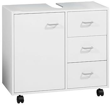FACKELMANN Waschbeckenunterschrank, Holz, Weiß, 29 x 65 x 59 cm ...