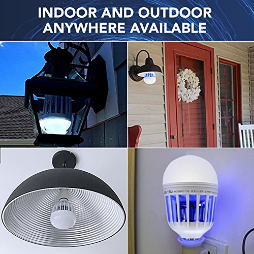 Inpher 4 Pack Bug Zapper Light Bulb, UV LED Mosquito Killer Lamp 1200LM 15W 2 in 1 Electronic Insect Killer, Fits in 110V E26 E27 Repellent Bulb Socket Base for Indoor Outdoor Porch Patio Backyard by Inpher (Image #5)