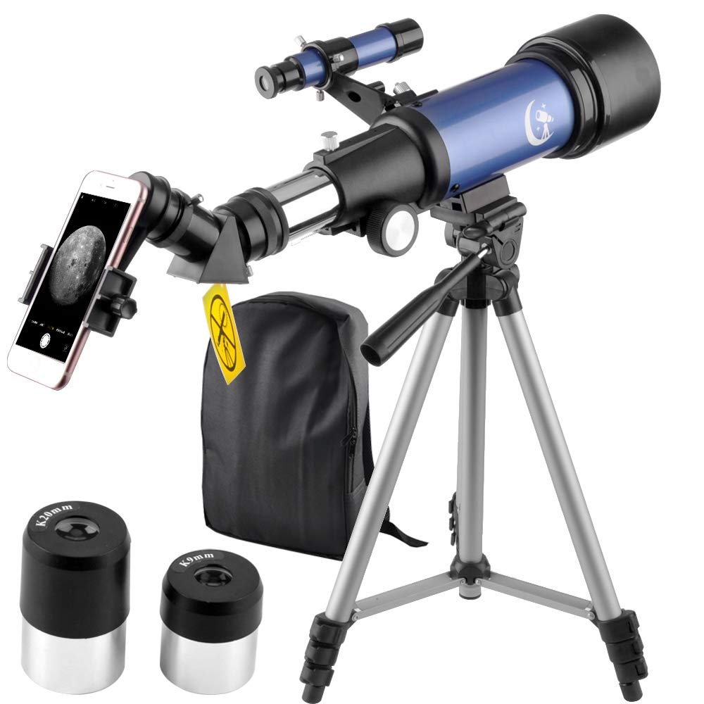 Telescope 70mm Apeture 400mm AZ Refractor Scope Blue- Travel Scope for Kids and Beginners with Backpack, Tripod and Smartphone Adapter to View Moon and Planet(Blue) by DoubleSun