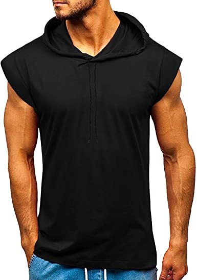 Mens Cut Off Athletic Hoodie Guys Fitness Tank Top for Rave EDM Festival Gym