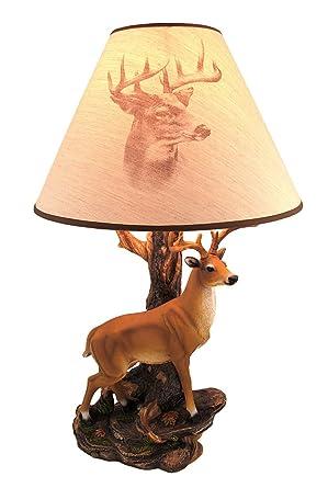 U0027Championu0027 12 Point Buck Table Lamp W/ Printed Shade
