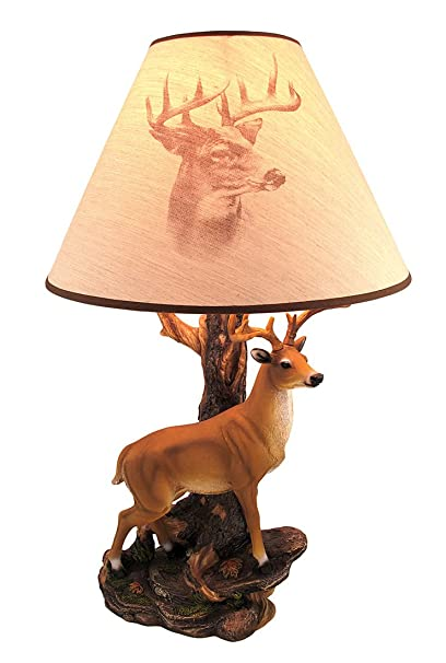 Great Resin Table Lamps `Champion` 12 Point Buck Table Lamp W/Printed Shade 12.75