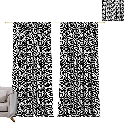 "Tr.G 84"" W x 84"" L Decor Waterproof Window Curtain Darkening and Thermal Insulating Draperies Black and White,Circular Pattern Monochrome Dots with Bullseye Design Abstract Modern Art,Black White"