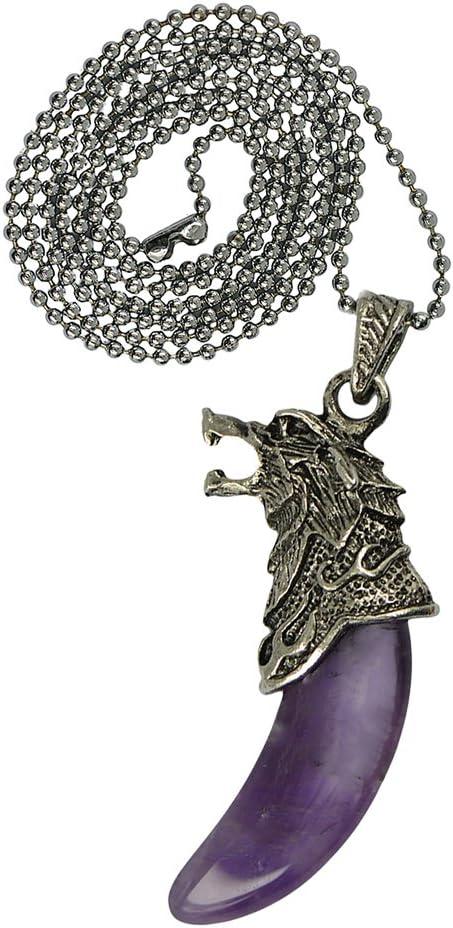 Hellery Silver Fantasy Game Thrones Dragon Head Ball Chain Collar Joyas - # 8 Amatista Púrpura, Individual