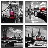SpecialArt Shuttle Bus on London Bridge Black and White Landscape Floater Framed Painting Canvas Wall Art for Modern Home Decor