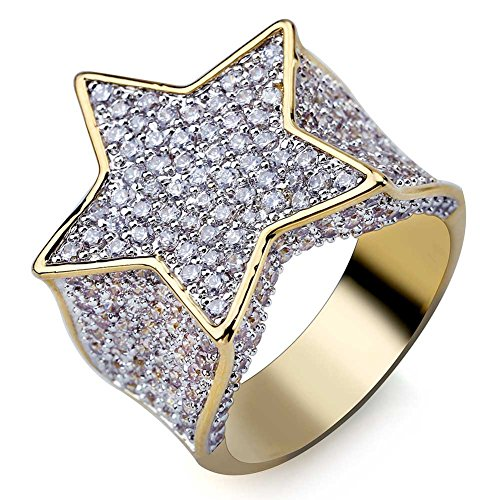 TOPGRILLZ Men14K Gold Plated Iced Out CZ Bling Star Punk Ring (7)