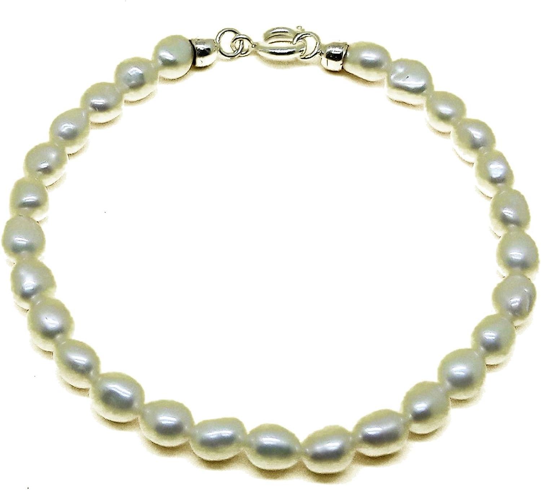 El Coral Pulsera Perlas Blancas Botón Ovales 5/6mm