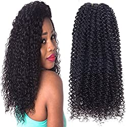 """Meiler 1 Bundle Virgin Brazilian Curly Hair Weave 100% Unprocessed Remy Sexy Kinky Curly Human Hair Extensions Weft 100g/pc Natural Black Color (12"""")"""