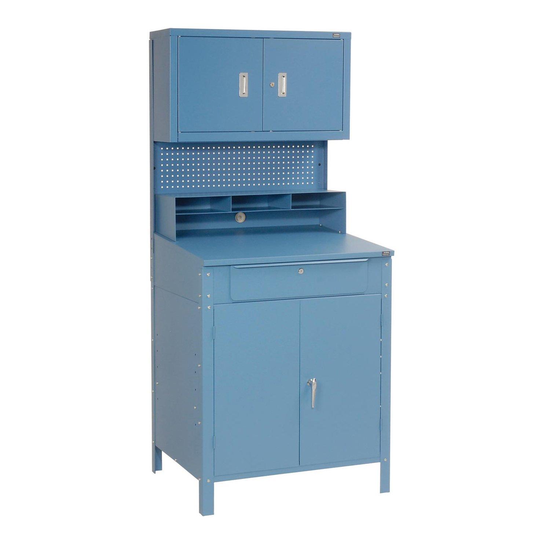 Amazon.com: Shop Desk w/Lower Cabinet, Pigeonhole Compartments w ...