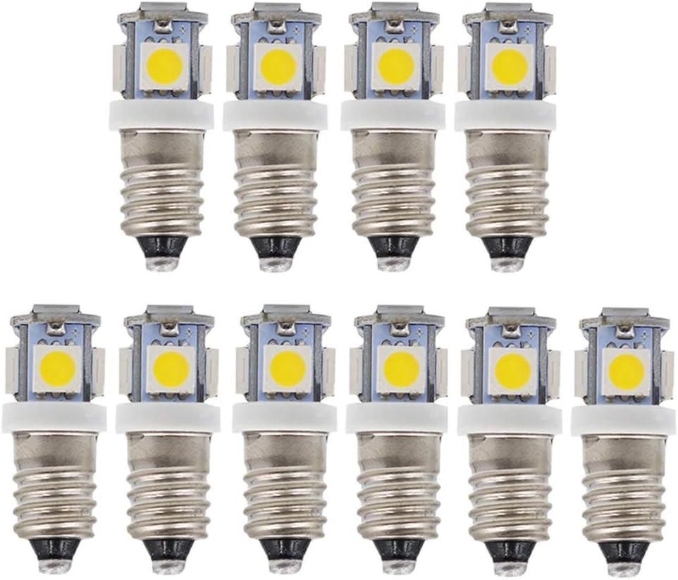 GutReise - Bombillas LED E10 6 V, 12 V, 24 V, luz blanca cálida, luz blanca fría, 5 SMD, 1,5 W, Warm White, 24V