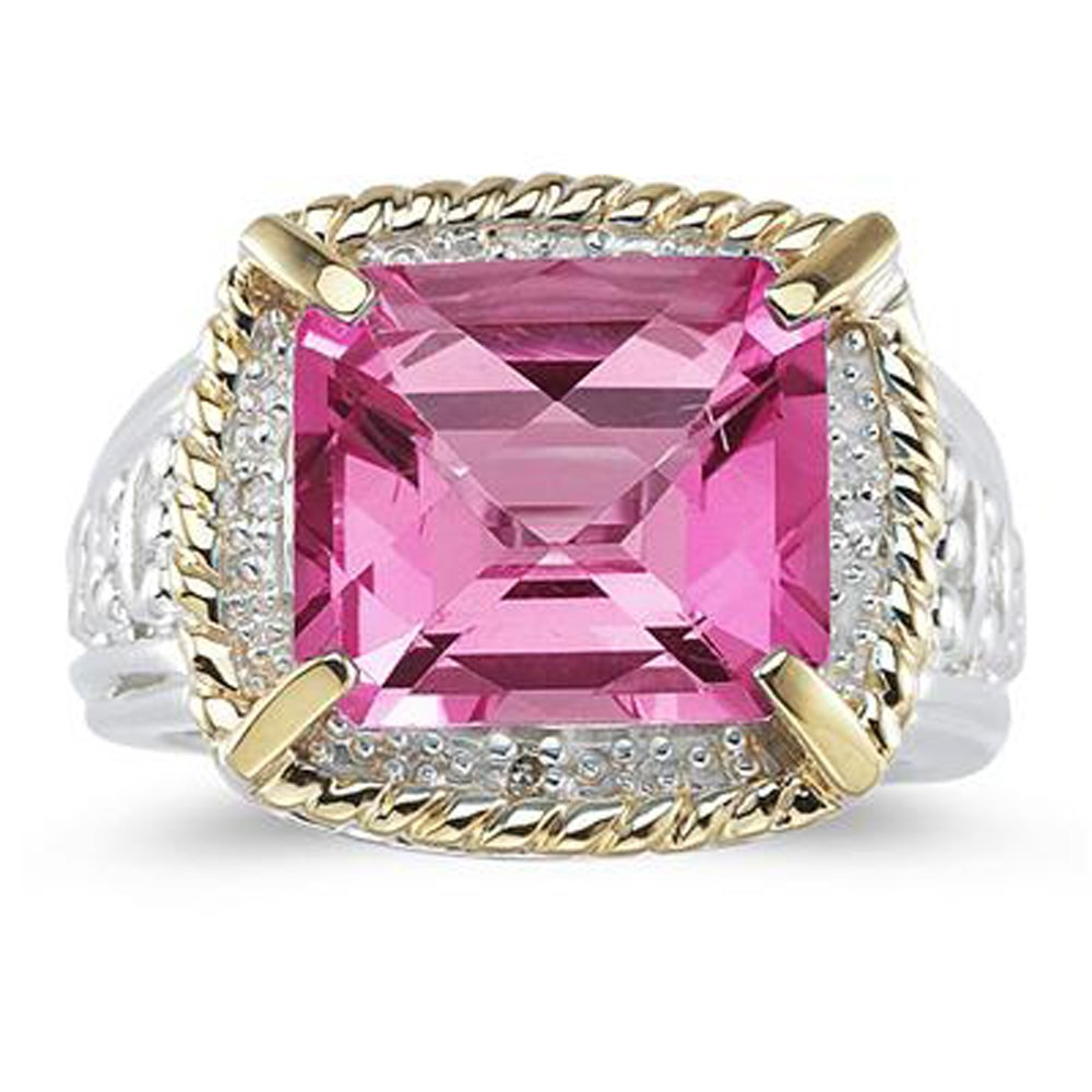 Smjewels 7.60 Ct Emerald Cut Pink Sapphire And Sim. Diamond Ring In 14K Two-Tone Plated