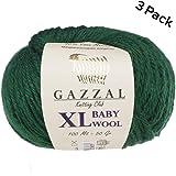 3件装 ( 球 ) gazzal 婴儿羊毛 XL TOTAL 149.7gram / 328yrds 每个球4盎司50g ) / 109yrds ( 100m ) 超软 medium-worsted 纱线40% LANA 美利奴20羊绒 TYPE 聚酰胺