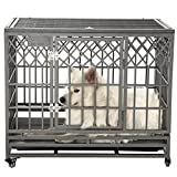 SMONTER 38'' Heavy Duty Strong Metal Dog Cage Pet Kennel Crate Playpen with Wheels, Y Shape, Dark Sliver