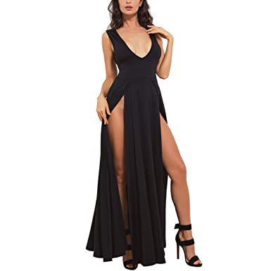 Womens V-neck Sexy Cocktail Swing Dress Ball Gown Party Prom Dresses Ladies Long Evening