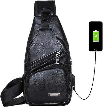USB Charging Small Chest Pack Mens Anti Theft Travel Sport Crossbody Sling Bag