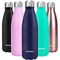 SUNWILL Insulated Water Bottle, Stainless Steel Double Wall Sports Water Bottle 480ml, Navy Blue