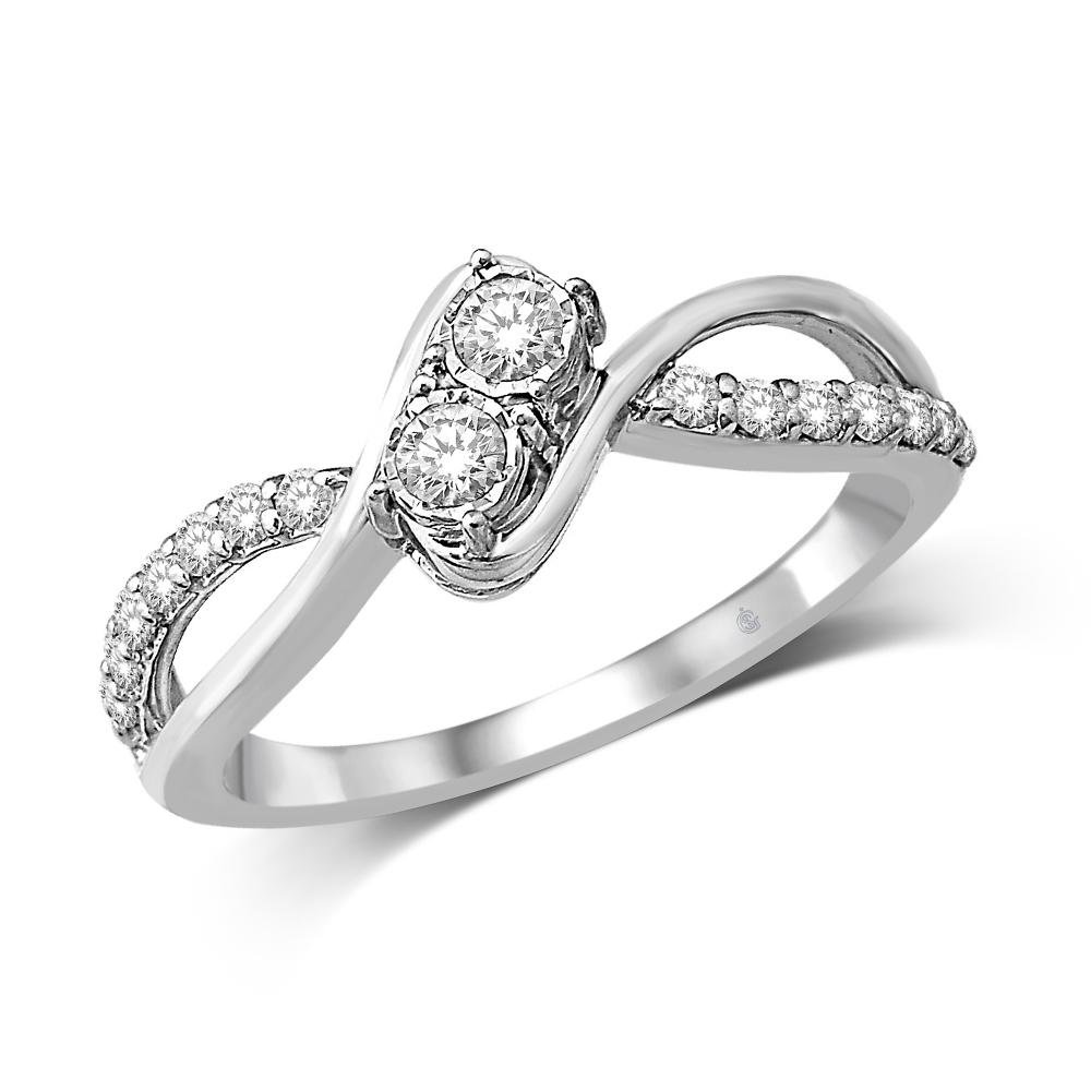 14K White Gold 1/3 Ct Diamond Fashion Ring by Saris and Things