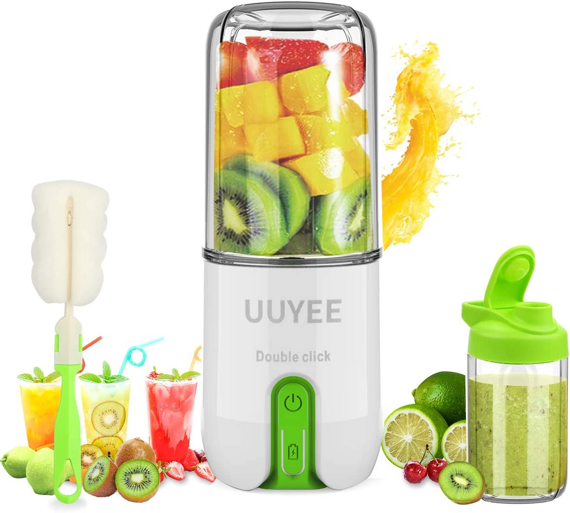 【Upgraded 16oz Portable Blender】UUYEE Personal Blender for Shakes and Smoothies, Mini Blender & Juicer Mixer, USB Rechargeable Blender with Six Large Blades and Tritan Cup for Sports,Travel,Gym