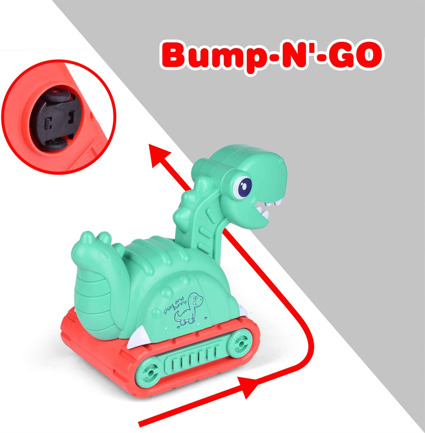 Bump and Go Cars Dinosaur Toys with Light and Sound FUN LITTLE TOYS Dinosaur Car for Kids Gifts for Boys and Girls
