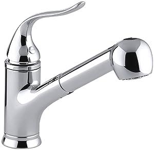 KOHLER K-15160-CP Coralais Single-Control Pullout Spray Kitchen Sink Faucet, Polished Chrome
