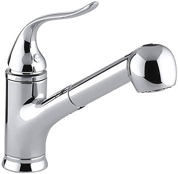 kohler k15160cp coralais pullout spray kitchen sink faucet