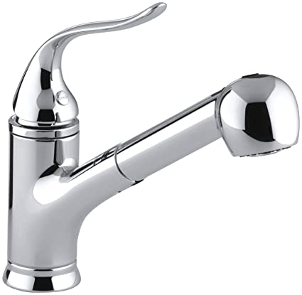 Kohler Kitchen Faucets.Kohler 15160 Cp Coralais R Single Three Hole Sink Pull Out Matching Color Sprayhead 9 Spout Reach And Lever Handle Kitchen Faucet Polished Chrome