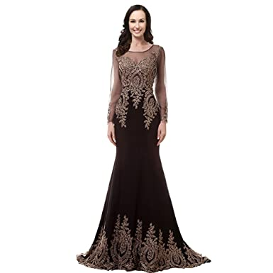 Kivary Vintage Illusion Long Sleeves Mermaid Gold Lace Crystals Prom Evening Dresses Black US 2