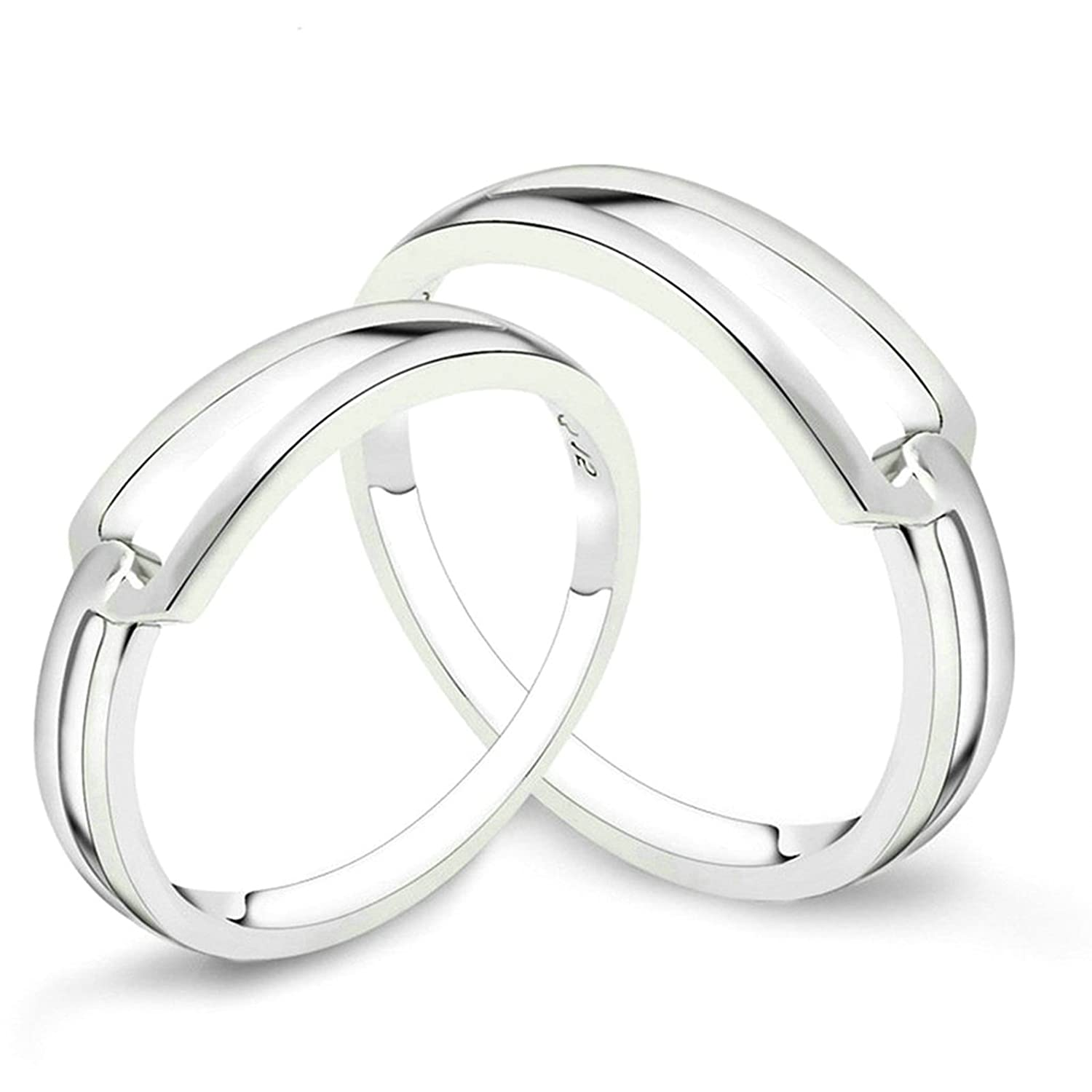 Amazon Com Womens Ladies Silver Plated Elegant Wedding Bands