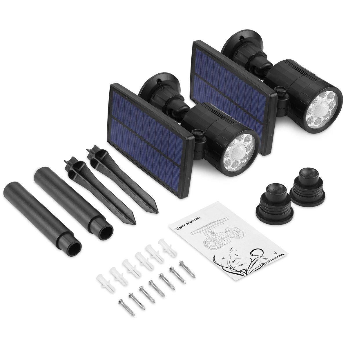 Luminaire Exterieur Eclairage Solaires de S/écurit/é Projecteurs Patio 800 Lumens /Éclairage de S/écurit/é sans Fil pour Porch AMIR Chemin 2 Pack Lampe Solaire Detecteur de Mouvement Exterieur