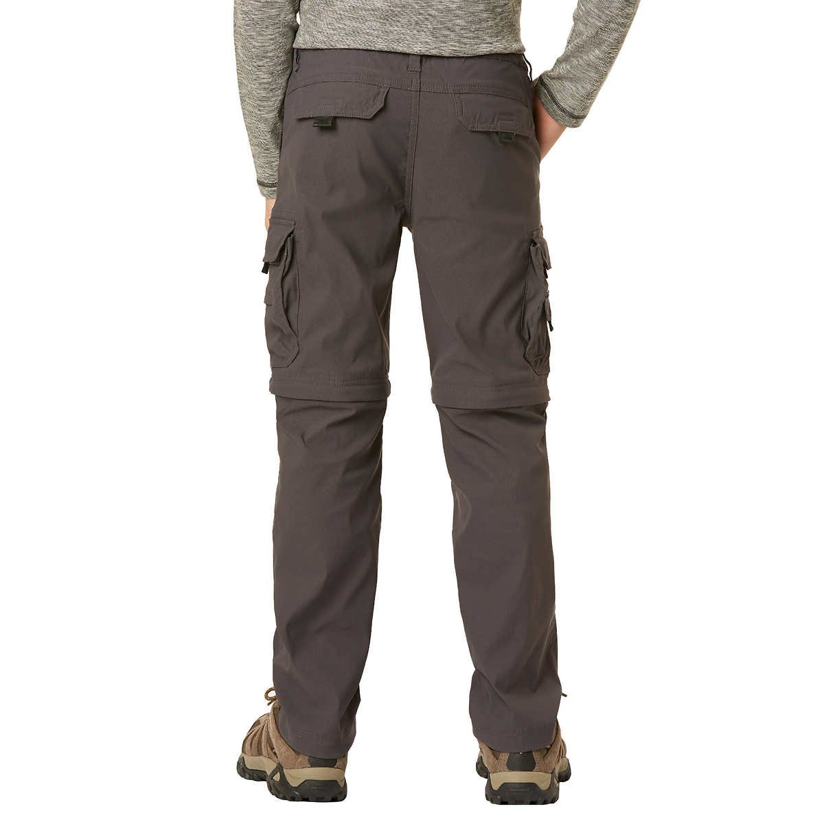 UNIONBAY Boy's Youth Convertible Lightweight Comfort Stretch Cargo Pants/Shorts (X-Small (5/6), Charcoal) by UNIONBAY (Image #2)