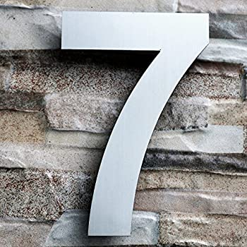 QT Modern House Number LARGE 8 Inch Brushed Stainless Steel