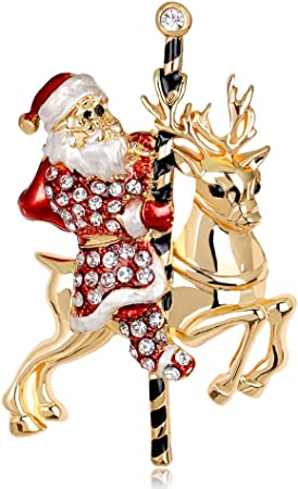 Fashion Crystal Noël Père Noël Bonhomme De Neige Broche Pin Femmes Costume Jewelry