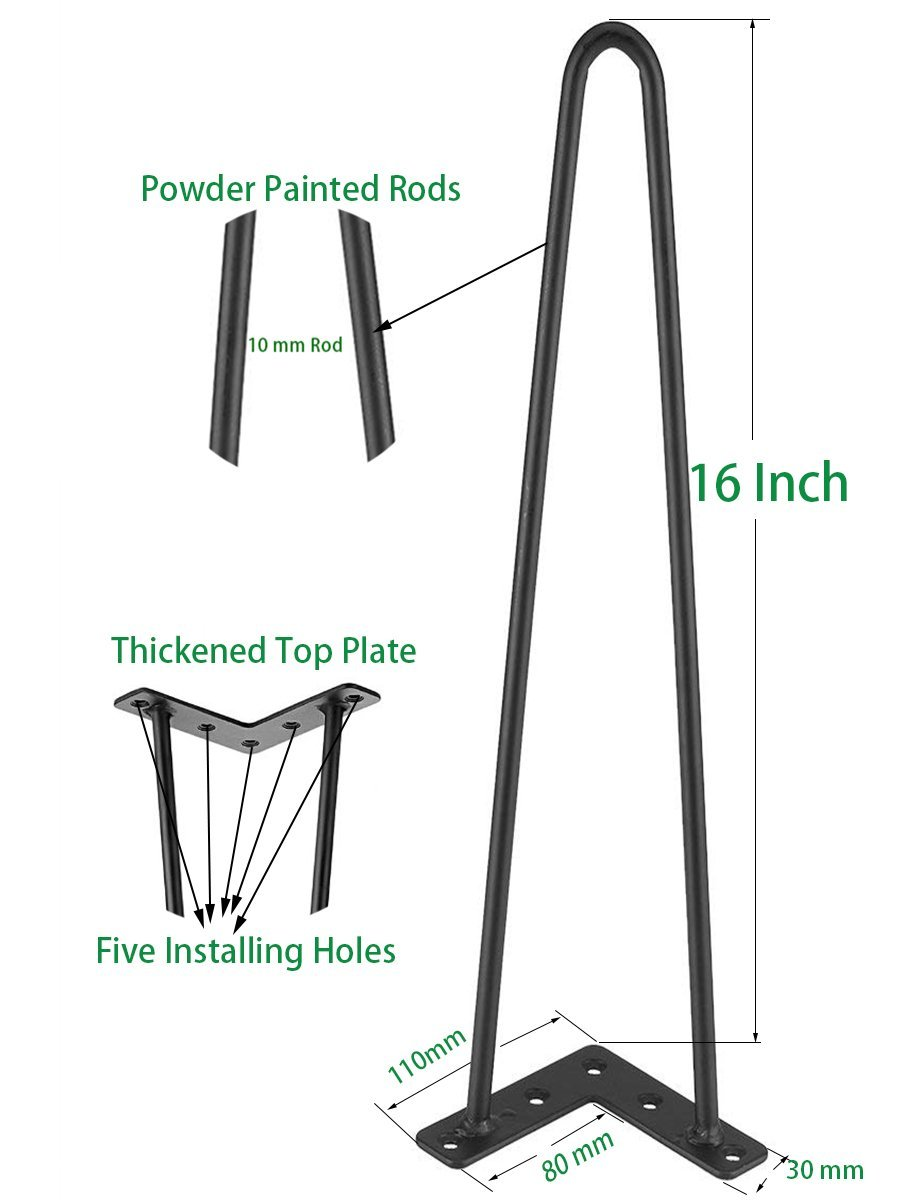 DICASAL 16 Inch Heavy Duty Twin Rods Black Hairpin Metal Coffee Table Legs 10mm Thick for Industrial Workbench and DIY Desk Tables Screws Included