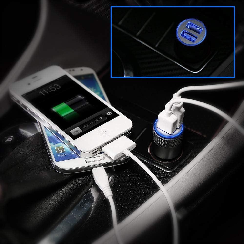 MMOBIEL Chargeur Allume-Cigare Voiture//Camion Double Port USB pour Tablette pour Smartphone 5V//4.8A//24W Argent