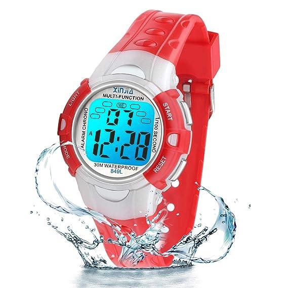 Reloj Digital para niños, 7 Colores, con luz LED, para niños ...
