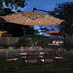 TANGKULA 10FT Outdoor Patio Umbrella Solar LED Lighted Sun Shade Market Umbrella Hanging Cover Cross Base
